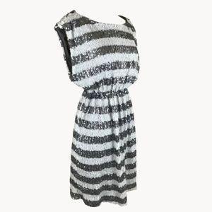 Forever Medium Short Dress Silver & White Sequin